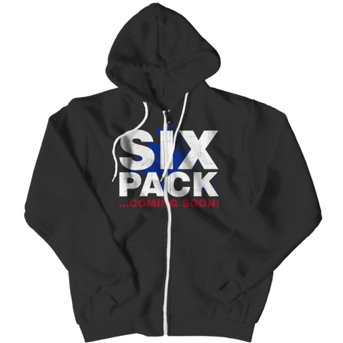 """Six Pack...Coming Soon"" Black Zipper Hoodie"