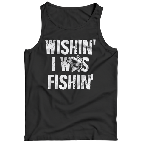 """Wishin' I Was Fishin'"" Black Tank Top"