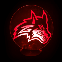 Seawolf-Shaped, Color-Changing, Acrylic, 3D(TM) L.E.D. Lamp(Red Color)
