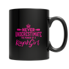 """Never Underestimate The Power Of A Kayak Girl"", 11 Oz. Black Coffee Mug"