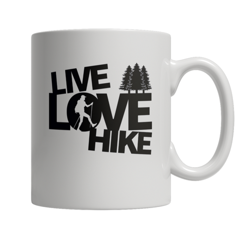 """Live, Love, Hike"", White-Colored 11 Oz Coffee Mug"