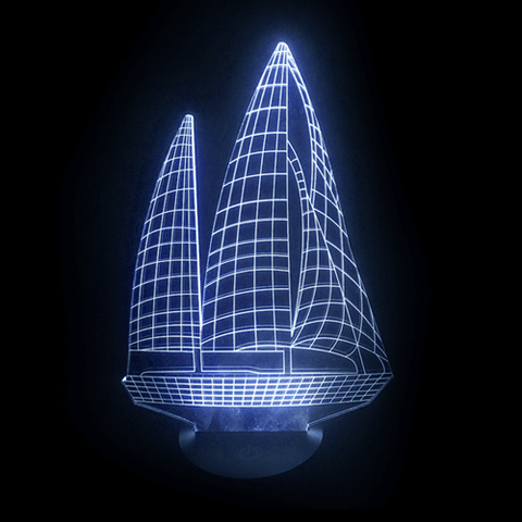 Sailboat-Shaped, Color-Changing, Acrylic, 3D(TM) L.E.D. Lamp(Blue Color)