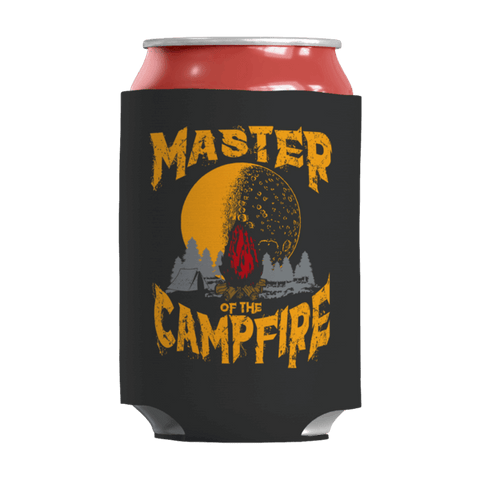 """Master Of The Campfire"" 12 Oz Soda/Adult Beverage Can & Stumpy Bottle Insulator/Sleeve/Wrap In Black"
