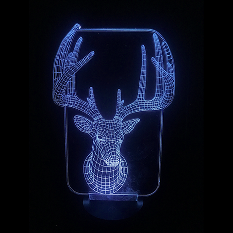 Deer-Shaped Color-Changing Acrylic L.E.D 3D(TM) Lamp(Blue Color)