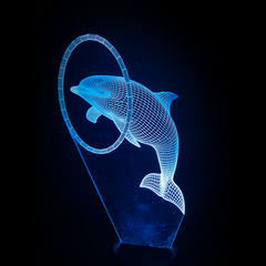 Dolphin-Shaped, Color-Changing Acrylic L.E.D 3D(TM) Lamp(Blue Color)