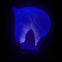Horse-Shaped, Color-Changing Acrylic L.E.D 3D(TM) Lamp(Blue Color)