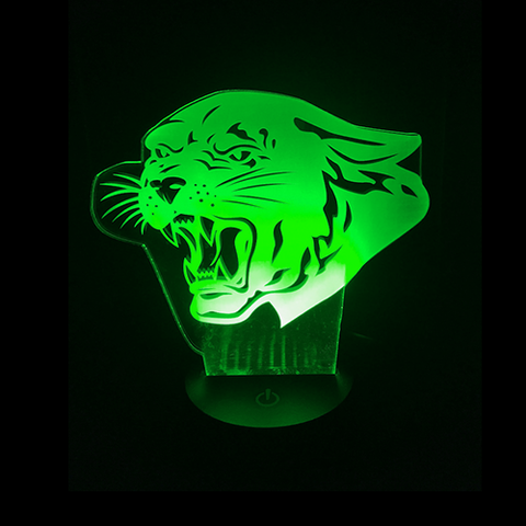 Panther-Shaped, Color-Changing Acrylic L.E.D 3D(TM) Lamp(Green Color)