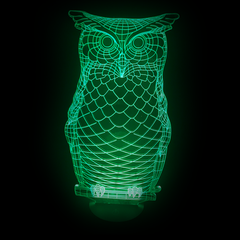 Owl-Shaped, Color-Changing Acrylic L.E.D 3D(TM) Lamp(Green Color)