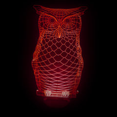 Owl-Shaped, Color-Changing Acrylic L.E.D 3D(TM) Lamp(Red Color)
