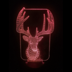 Deer-Shaped Color-Changing Acrylic L.E.D 3D(TM) Lamp(Red Color)