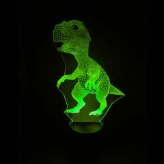 Dinosaur-Shaped Color-Changing Acrylic L.E.D 3D(TM) Lamp(Green Color)