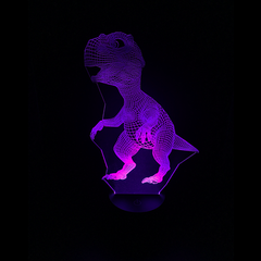 Dinosaur-Shaped Color-Changing Acrylic L.E.D 3D(TM) Lamp(Purple Color)
