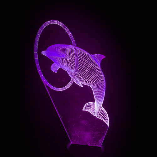 Dolphin-Shaped, Color-Changing Acrylic L.E.D 3D(TM) Lamp(Purple Color)