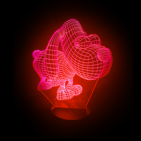 Hound Dog-Shaped, Color-Changing Acrylic L.E.D 3D(TM) Lamp(Red Color)