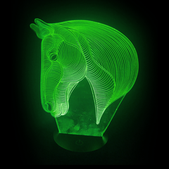 Horse-Shaped, Color-Changing Acrylic L.E.D 3D(TM) Lamp(Green Color)
