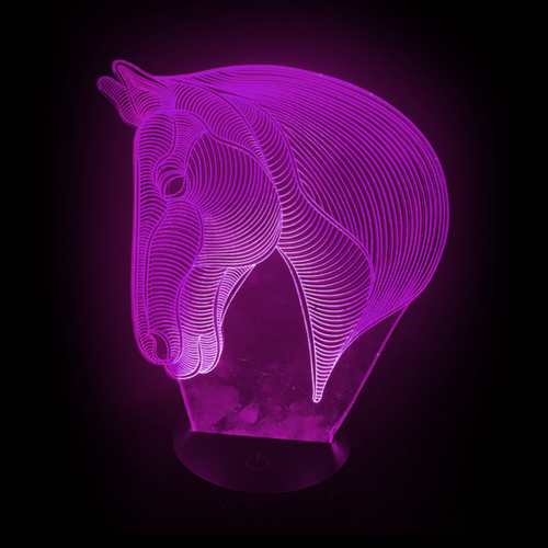 Horse-Shaped, Color-Changing Acrylic L.E.D 3D(TM) Lamp(Purple Color)