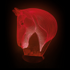 Horse-Shaped, Color-Changing Acrylic L.E.D 3D(TM) Lamp(Red Color)
