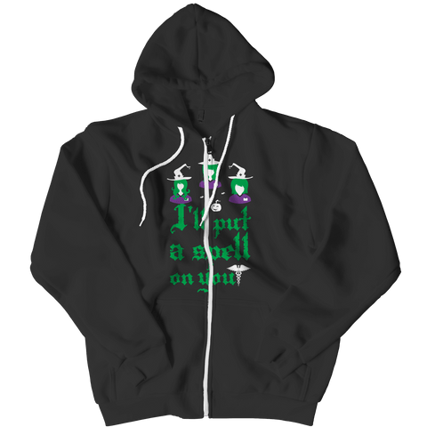 """I'll Put A Spell On You"", Black, Nurse Zipper Hoodie For Halloween"