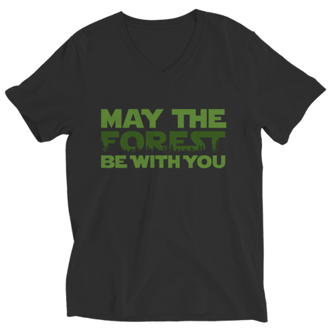 """May The Forest Be With You"" Ladies' V Neck Black T Shirt"