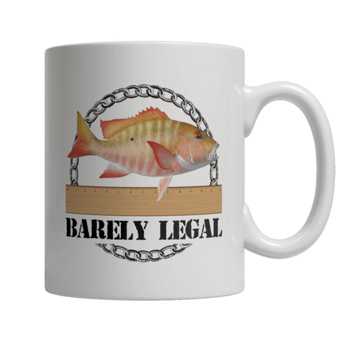 """Barely Legal"", 11 Oz, White Coffee Mug For Fishing Enthusiasts"