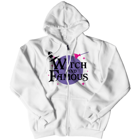 """Witch And Famous"", White Zipper Hoodie For Halloween"