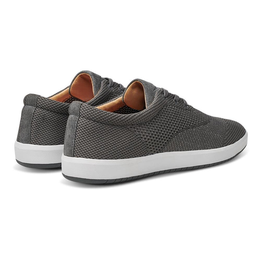 Men's MOBS Knit Low Shoe Rue Bloc Grey/Nubuck Heel Angle View