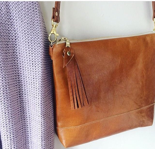 quality products outlet boutique quality and quantity assured Cognac leather crossbody bag