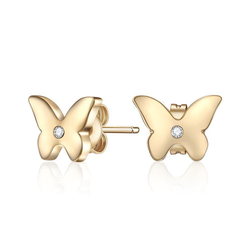 Tickled Pink Gold Butterfly Earrings