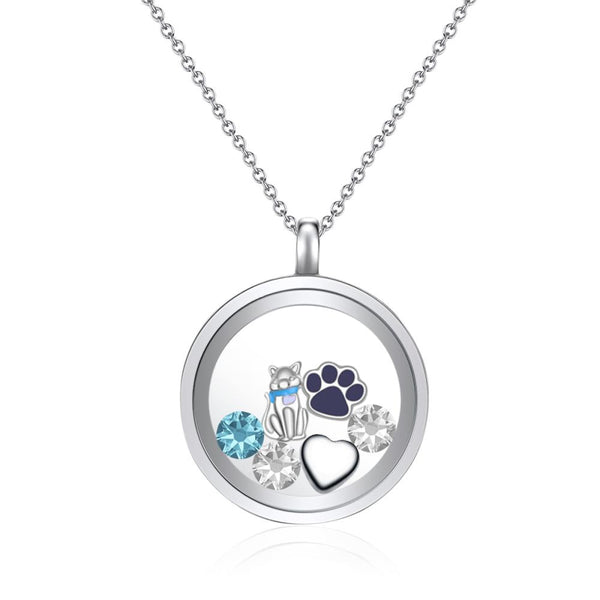 I Love Cats Floating Charm Necklace