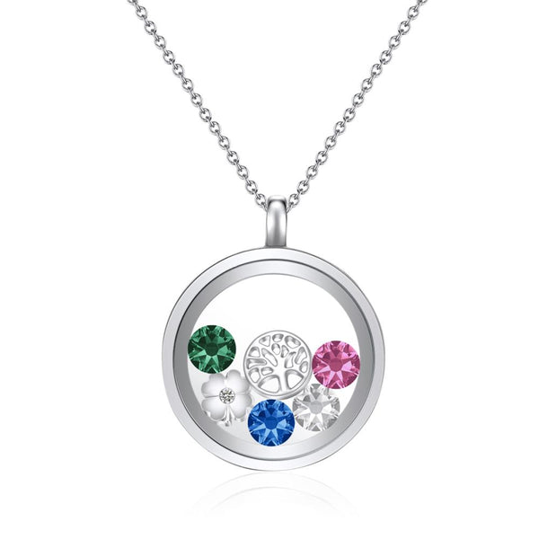 Tree of Life in Silver Floating Charm Necklace
