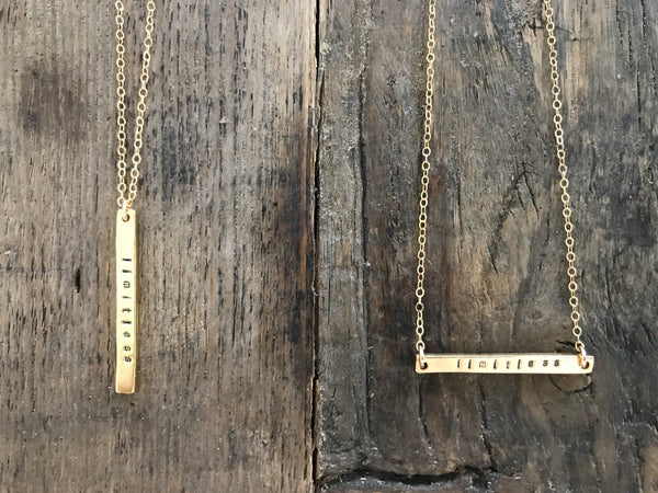 limitless. a bar necklace