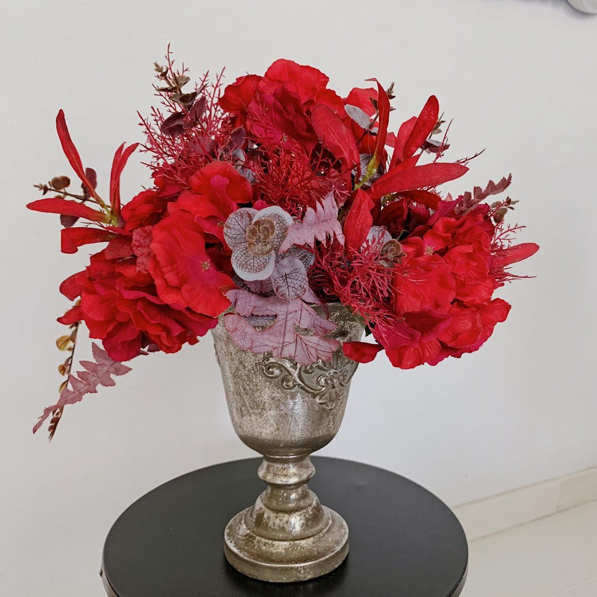 Glorious Red with Silver Rustic Vase