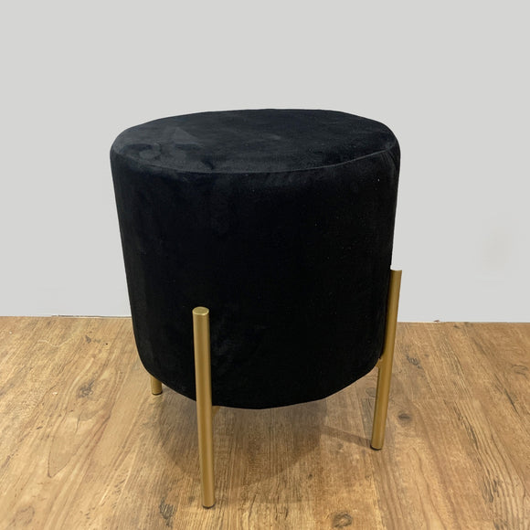 Velvet Stool with Gold Legs (Black)