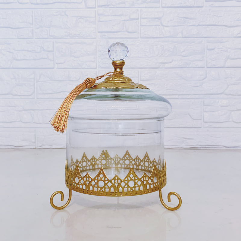 Glass Canister with Gold Arabic Motif on Stand
