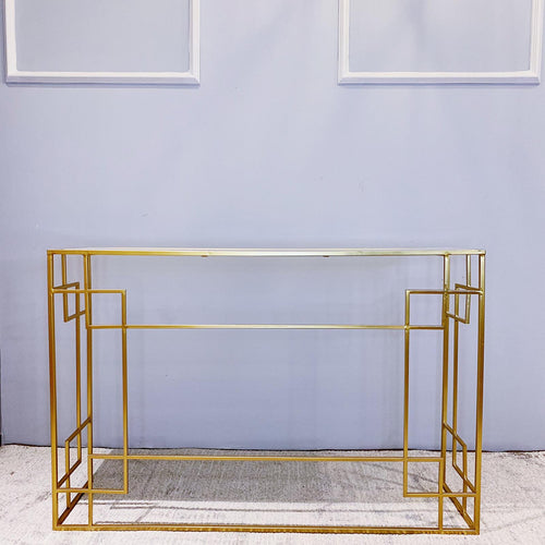Console Table With Marble Top Oriental Design