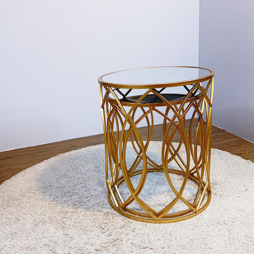 Side Table With Mirror Top And Decorative Edge