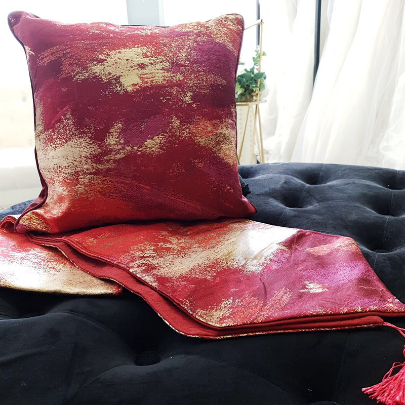 Abstract Splash Paint Cushion Cover Ruby