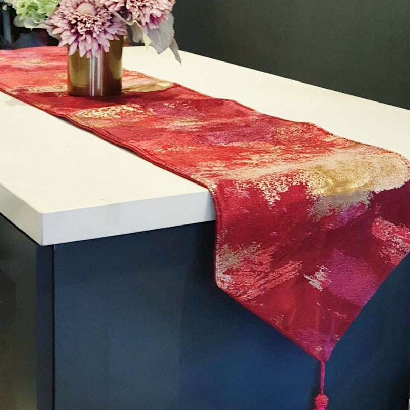 Abstract Splash Paint Table Runner Ruby