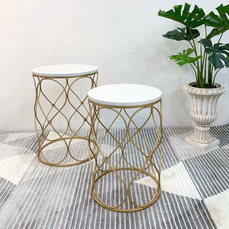 Gold Bow White Marble Side Table