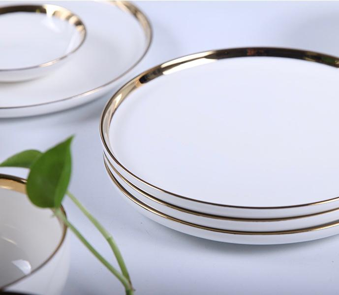 Opulence White with Gold Rim Dinnerware Set