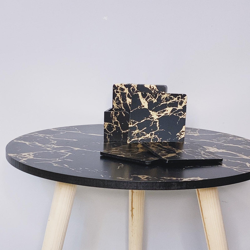 Black and Gold Marble Coasters (Set of 6)