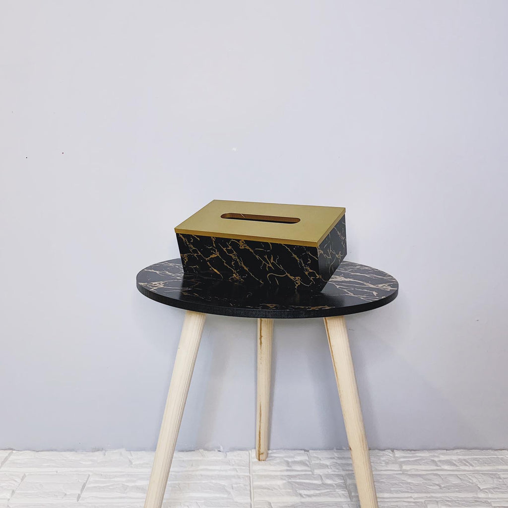 Black and Gold Marble Tissue Box