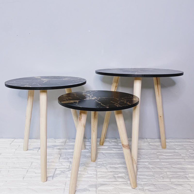 Black & Gold marble Trio side tables