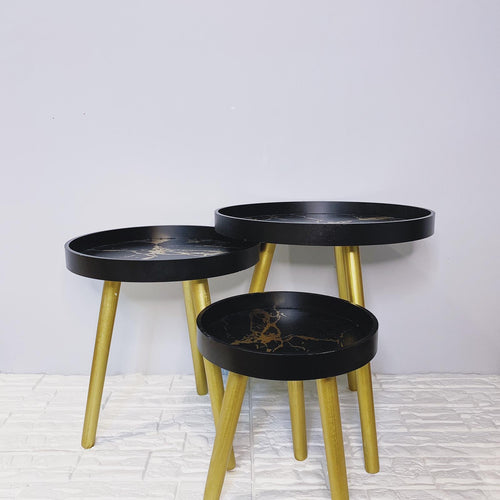 Black & Gold marble Trio side tables with Lip