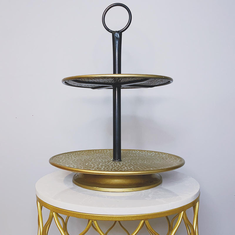 2 Tier Serving Stand in Antique Finish