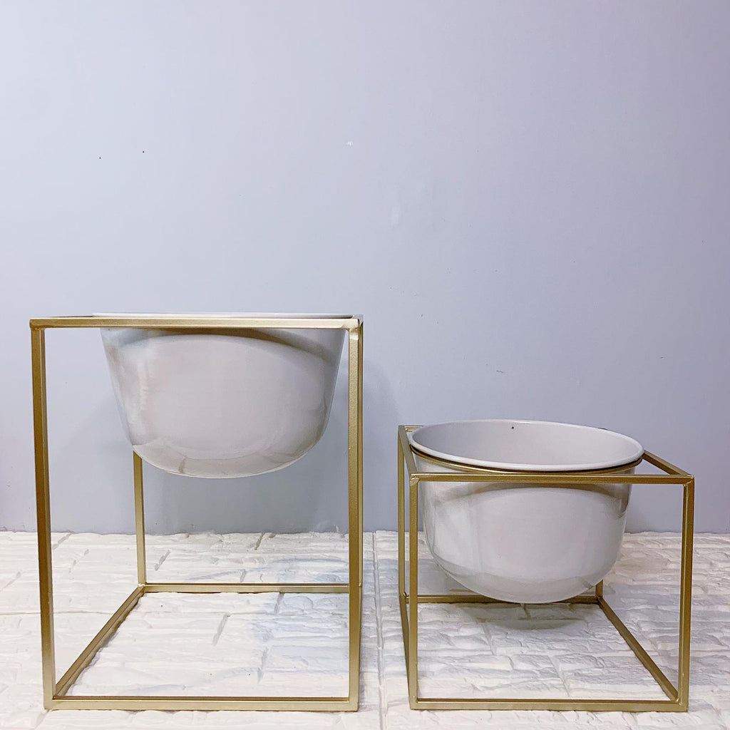 White Basin-Style Vase With Gold Planter Stand