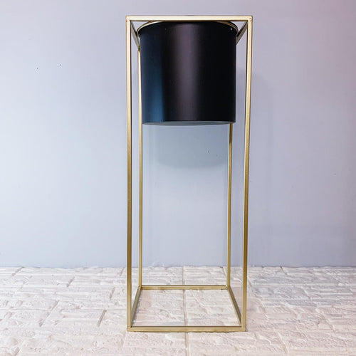 Black Vase With Gold Planter  Stand