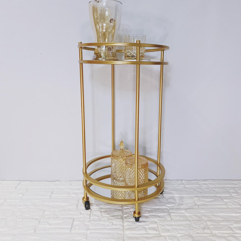 Gold Serving Trolley With Mirror Surface