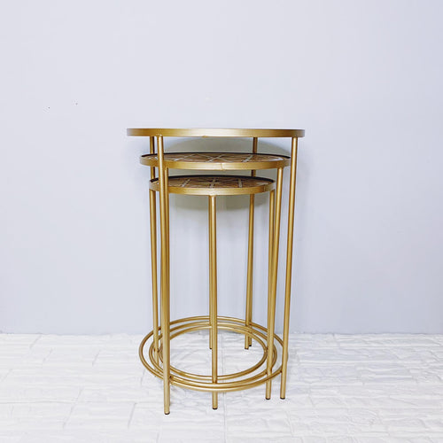 Nesting Side Tables With Wooden Inset Tabletop