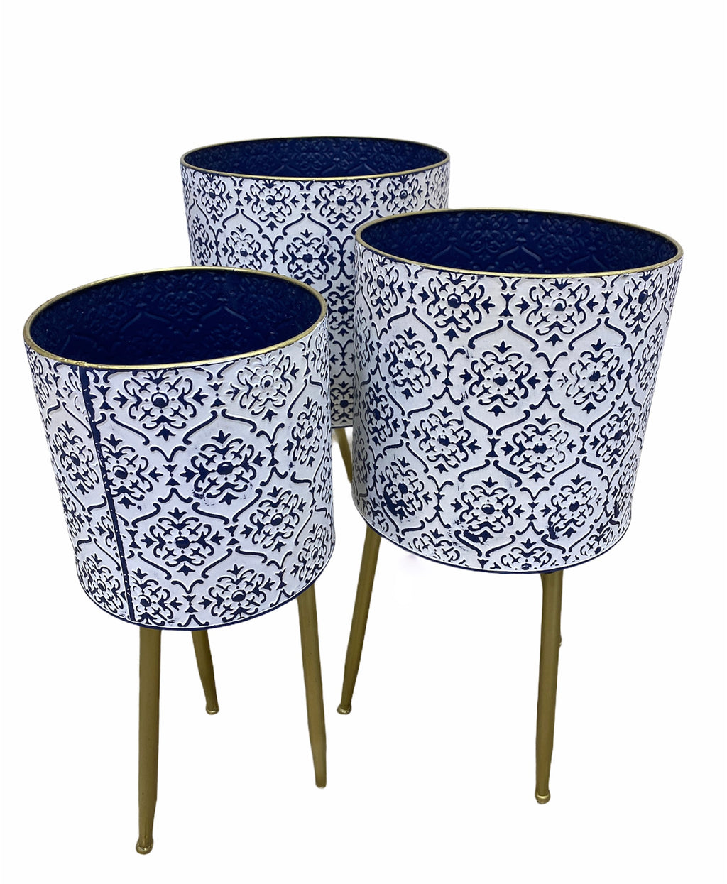 Blue/White Moroccan Pot with Stand